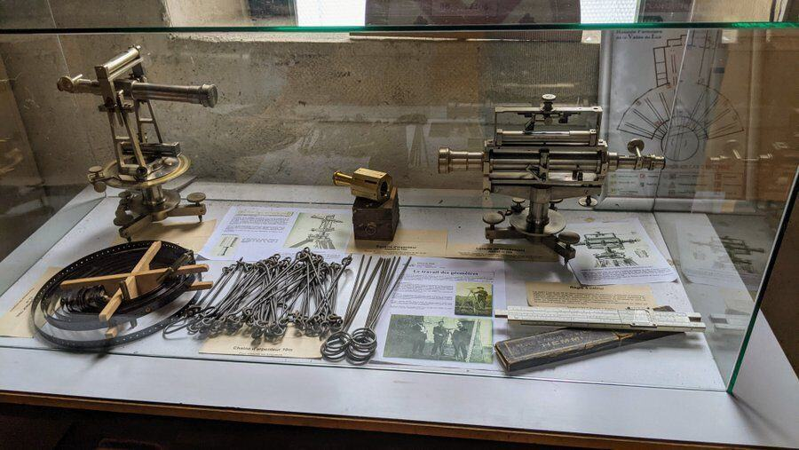 A display case of track engineers precision instruments