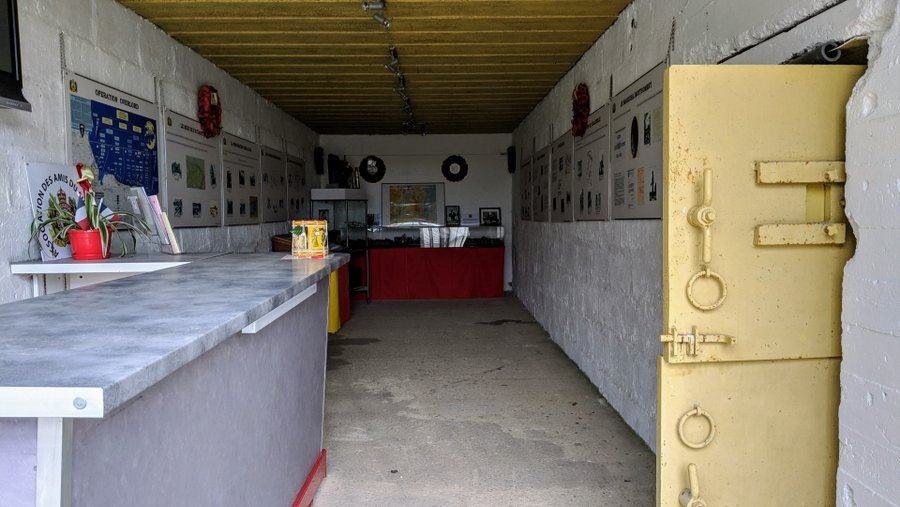 A view into the info centre in the memorial bunker at Hillman