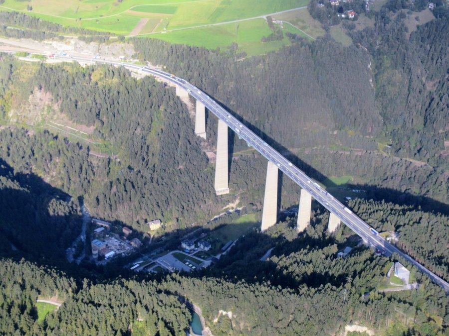Aerial view of Europa Bridge outside Innsbruck
