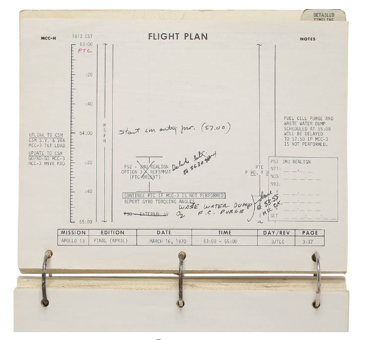 Annotated page from Apollo 13 Flight Plan