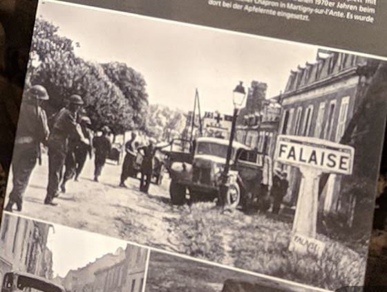 Close up of a black & white photo taken in Falaise in 1944