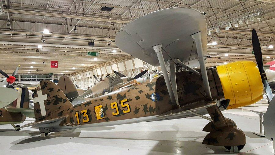 Brown with green mottled camouflage biplane