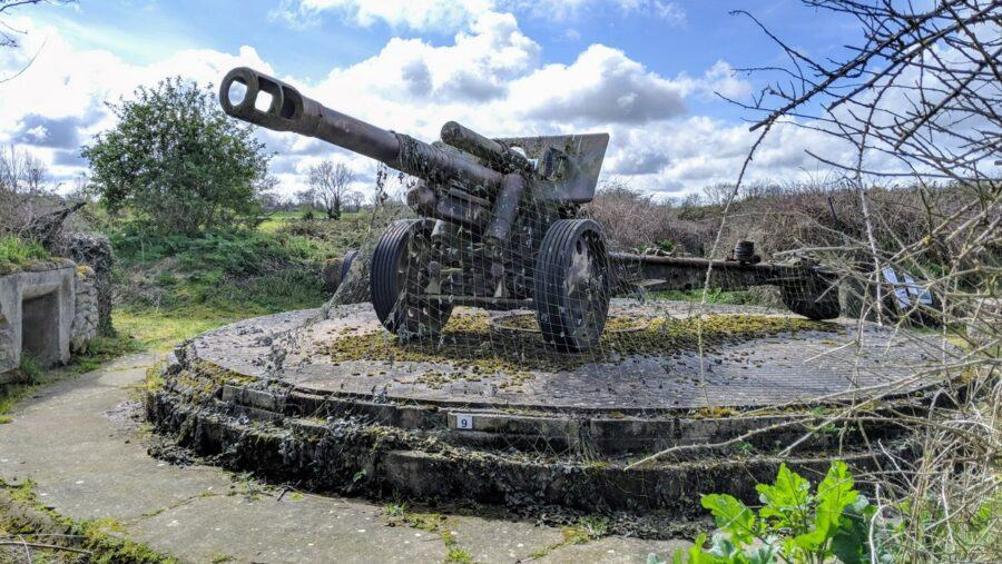 A field gun at a site of interest