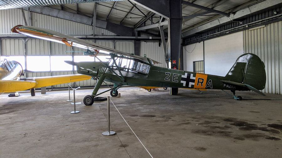WW2 German spotter & transport plane in Luftwaffe colours. The Fieseler Storch is on display at the Salis Flying Museum