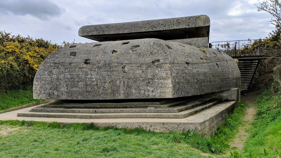 Large multi-layer concrete bunker with rounded edges