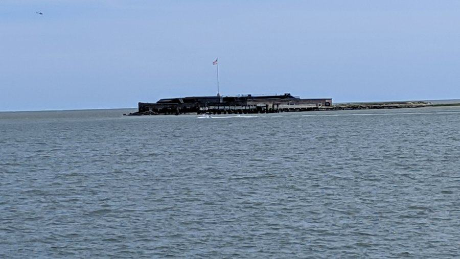 Distant view of the Fort Sumter island