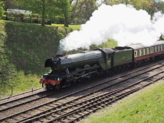 Flying Scotsman steam train on the move