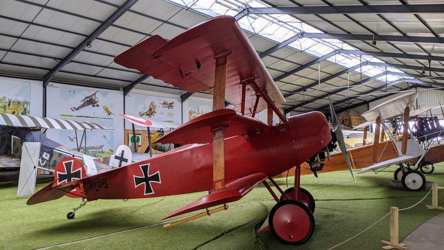 Red-painted triplane with german marking in the Salis Flying Museum