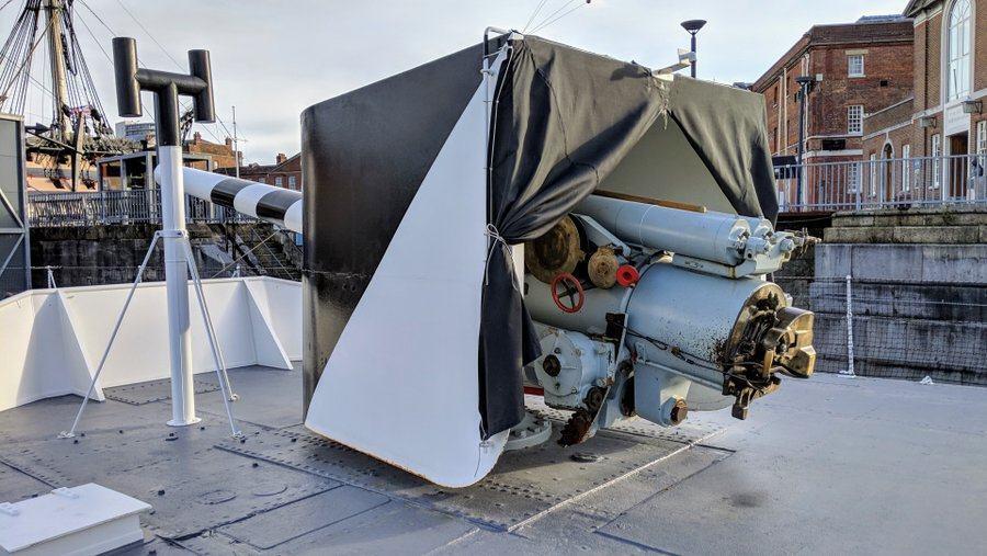 A half-enclosed gun turret
