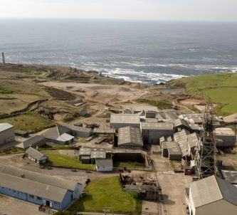 Aerial view of the tin mine near the sea