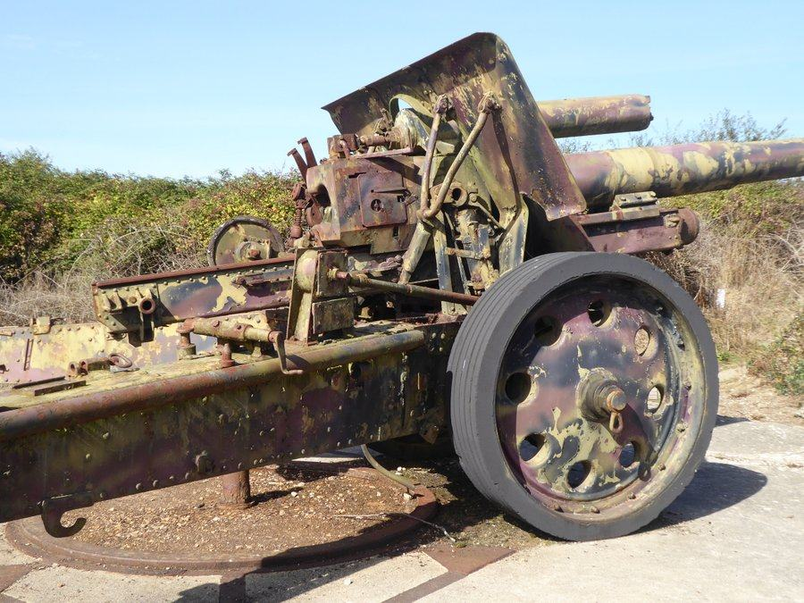 A rusty 15cm field cannon