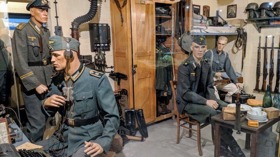 German troops inside a concrete bunker