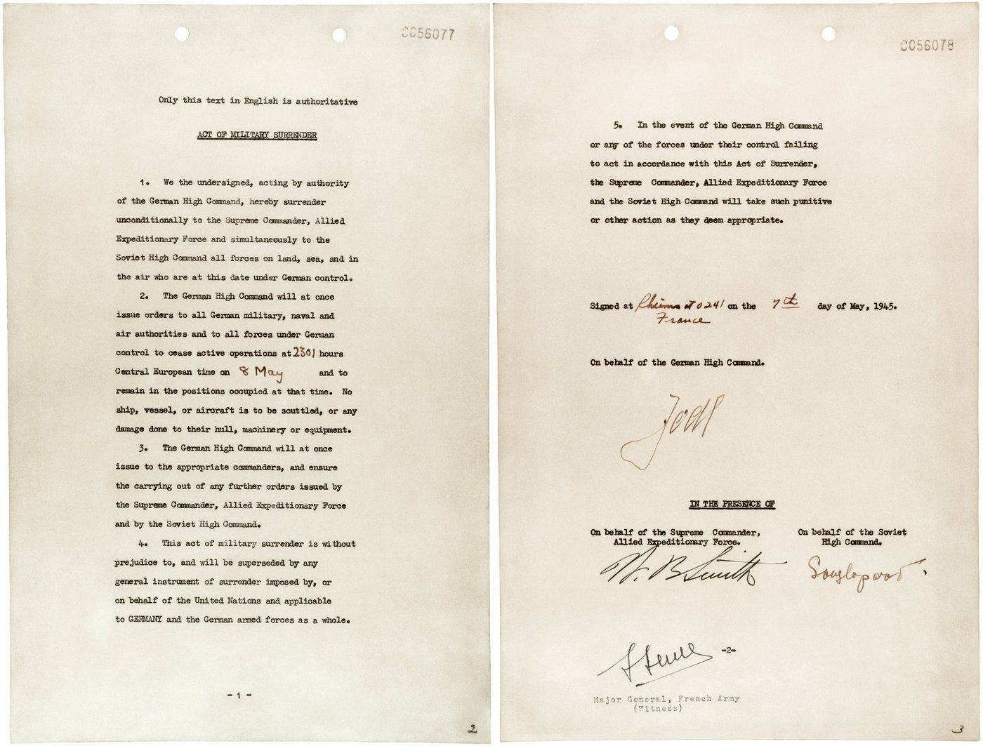 Photo of the German instrument of surrender