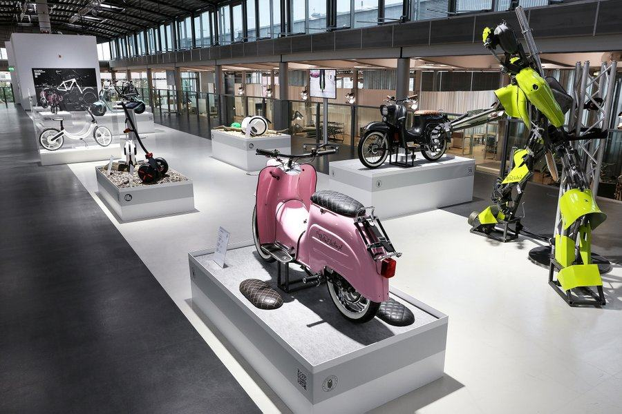E-bikes on display at Volkswagen's Glaeserne Manufaktur
