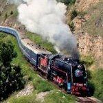 Black steam engine hauls luxury passenger coaches on a track by a lake