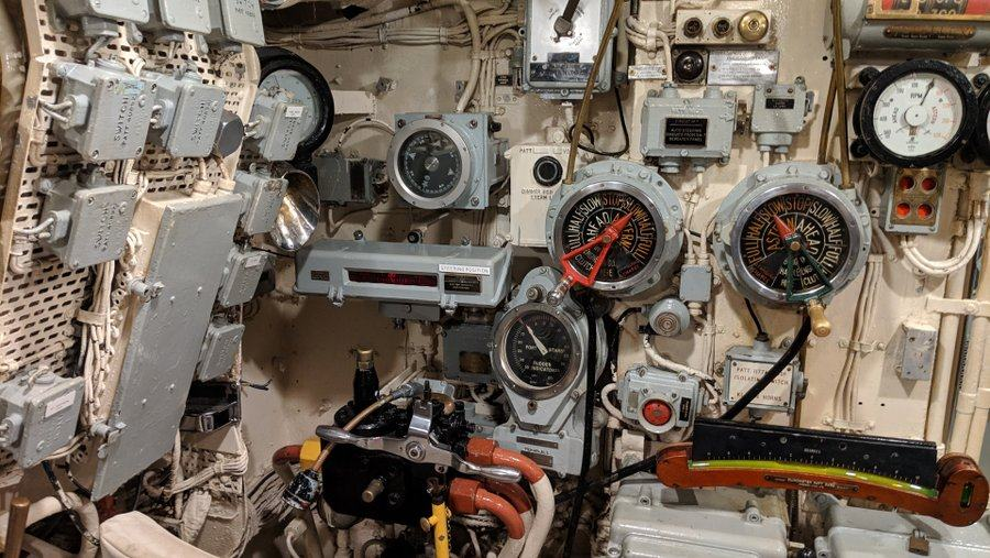 Steering position with rudder indicators, engine room telegraph, etc