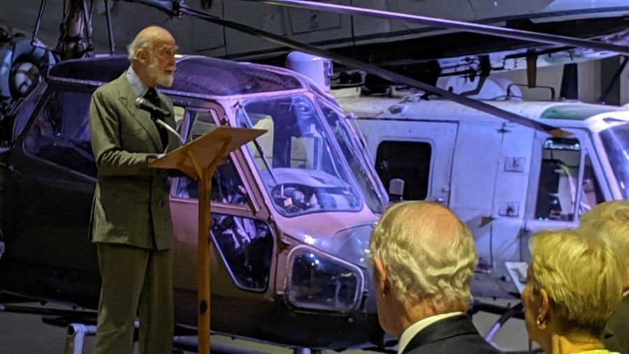 HRH Prince Michael of Kent on stage speaking to an audience