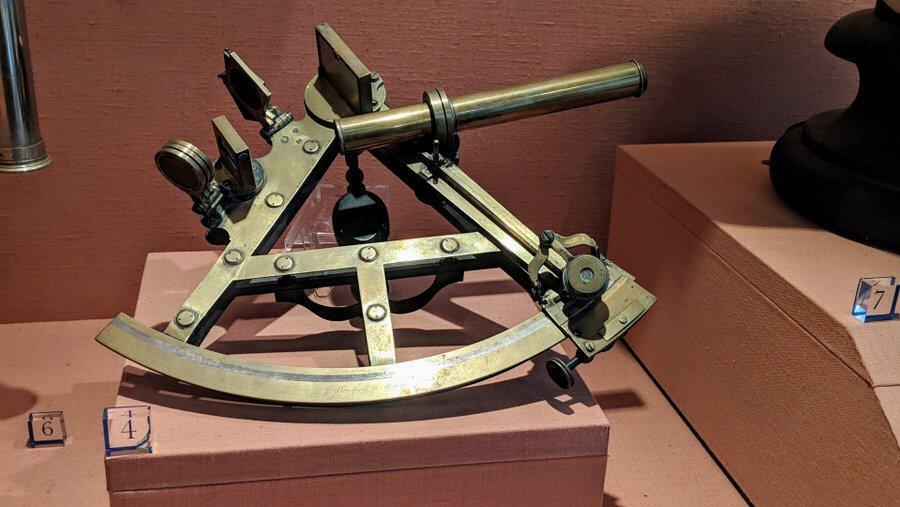 A brass sextant