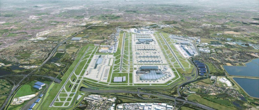 Artistic rendering of an aerial view of the future Heathrow looking from the west