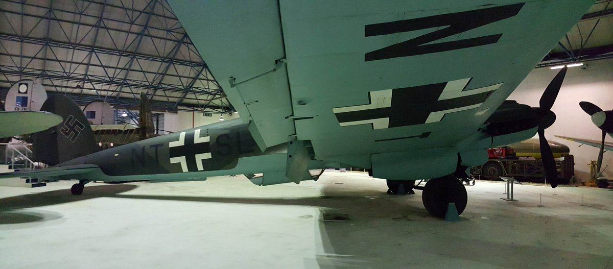 View under the blue wing of the Heinkel 111 bomber