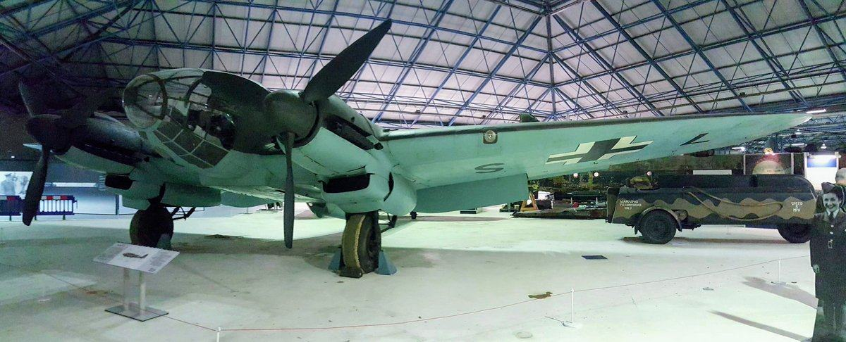 Front view of perspex-nosed German twin engine bomber
