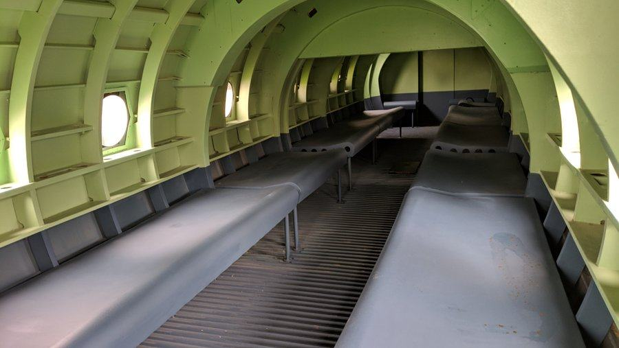 Green painted interior of the wooden Horsa glider