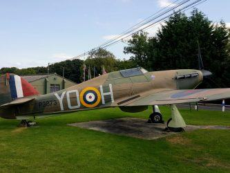 An RAF Hawker Hurricane fighter in brown & green camouflage