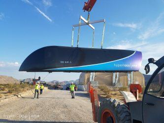 Hyperloop 1 pod beling lifted