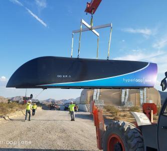 Hyperloop 1 pod beling lifted