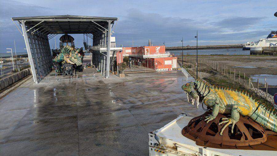 The iguana and dragon at the Cite du Dragon, Calais