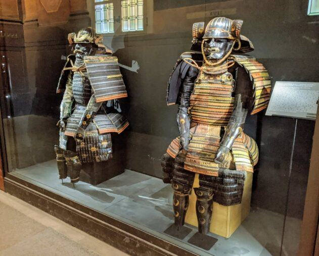 Two colourful suits of Samurai armour