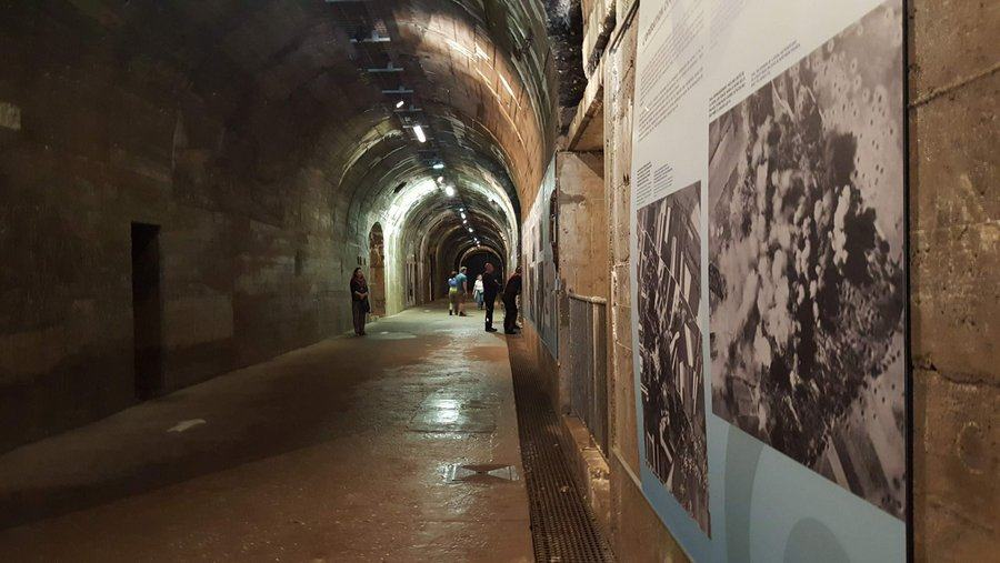 The tunnel with displays on the walls