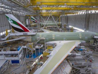 View down on an assembly line of Airbus A380s