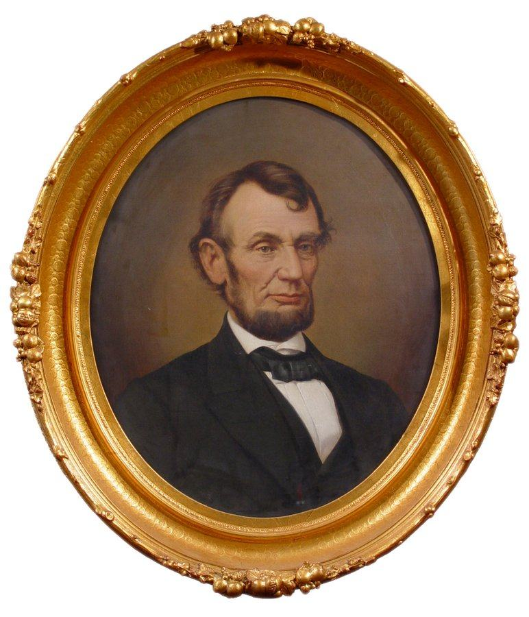 Coloured portrait of Lincoln