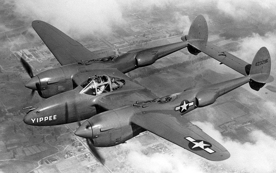 A P38 Lightning in flight