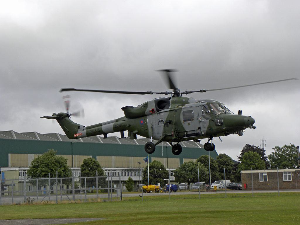 Army Lynx helicopter hovering