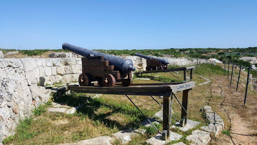 Cannons at the wall of Marlborough Fort, Menorca