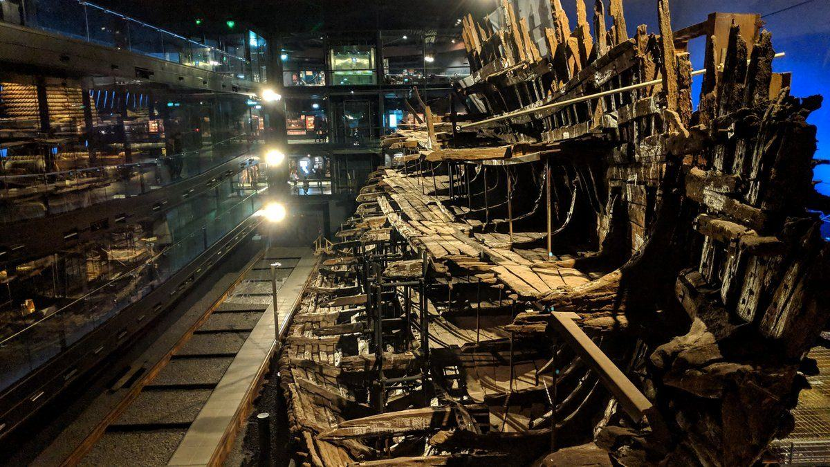 Looking along the wreck of the Mary Rose from the stern