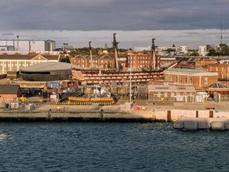 Historic Dockyard, Portsmouth in evening sunlight
