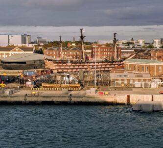 Historic Dockyard, Portsmouth in evening sunlight