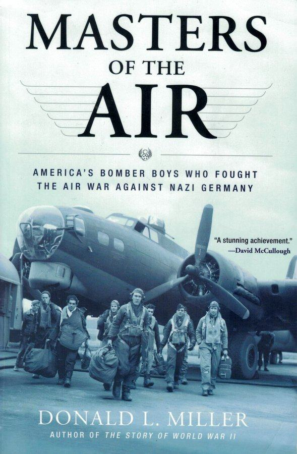Book cover with a bomber crew standing in front of their aircraft