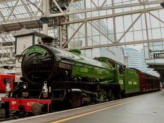 Classic steam locomotive in glistening green livery alongside the platform