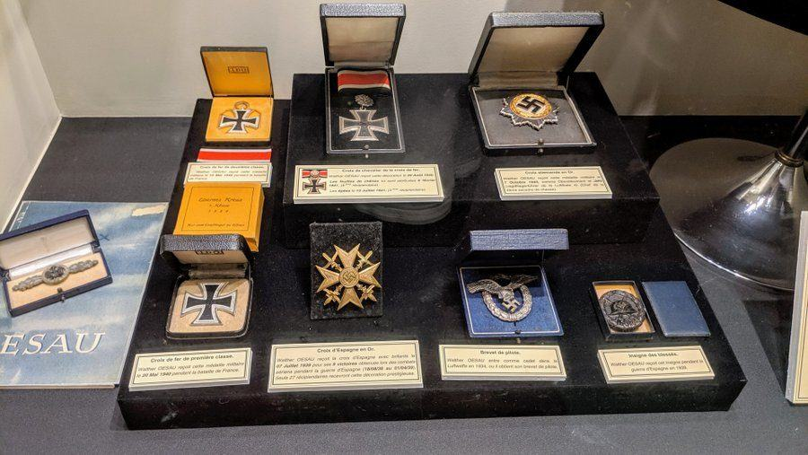 Medals on display in their boxes