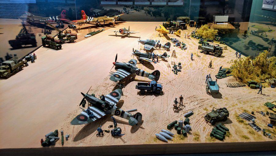 Model planes on an airstrip