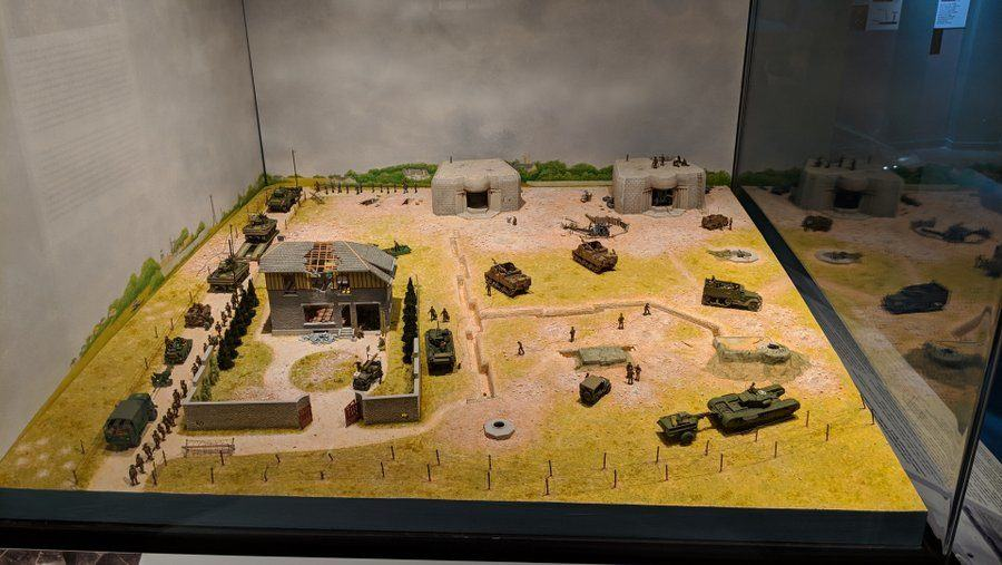 Model of fields with buildings, bunkers and artillery casements