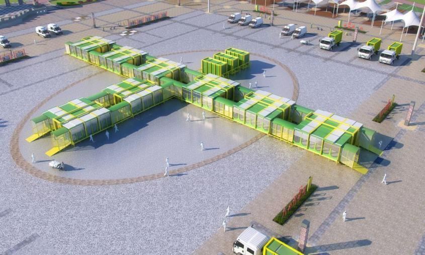Design rendering of a modular hospital green, yellow and glass panels