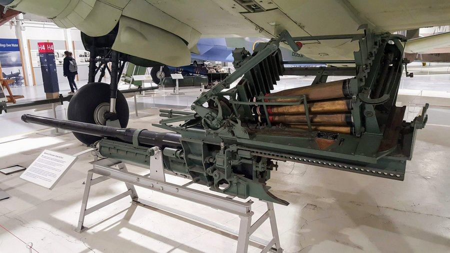 Large calibre cannon barrel with shells stacked in the loading mechanism