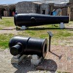 A civil war era mortar & cannon painted black