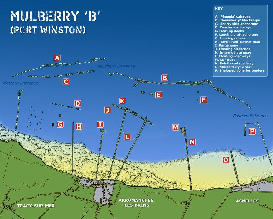 A map of the Mulberry harbour components