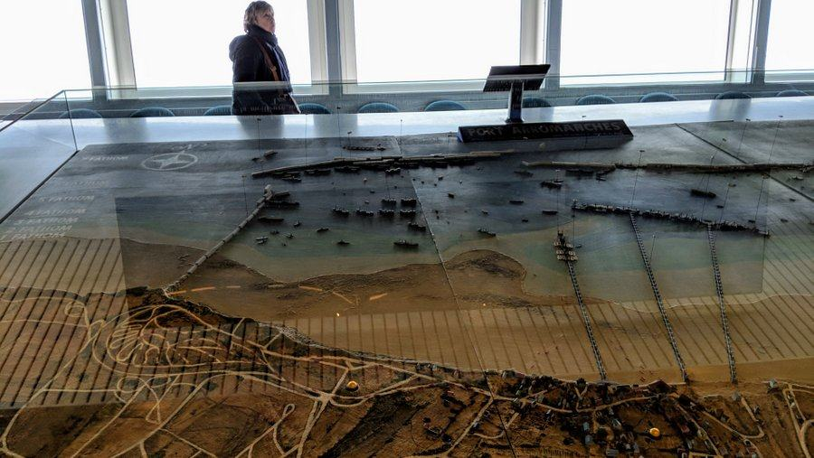 A large 3d model/map of the Mulberry harbour